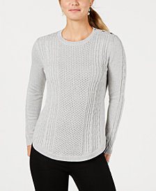 Charter Club Petite Cable-Knit Metallic Sweater, Created for Macy's