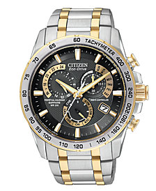Citizen Men's Chronograph Eco-Drive Two Tone Stainless Steel Bracelet Watch 43mm AT4004-52E