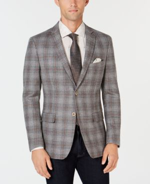 TALLIA Men'S Slim-Fit Gray Plaid Sport Coat With Faux-Suede Elbow Patches in Grey/White