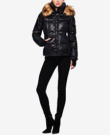 S13 Kylie Faux-Fur-Trim Hooded Down Puffer Coat