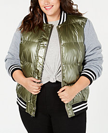 Levi's® Plus Size Mixed-Media Varsity Jacket