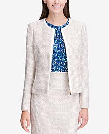 Calvin Klein Petite Tweed Zip-Up Jacket
