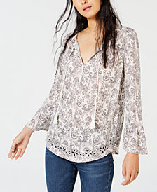 Lucky Brand Printed Cutout Peasant Top