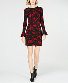 MICHAEL Michael Kors Printed Flounce-Sleeve Shift Dress, In Regular & Petite Sizes