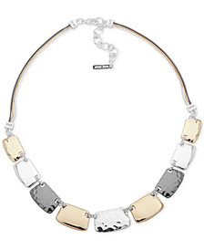 "Nine West Textured Block Collar Necklace, 16"" + 2"" extender"