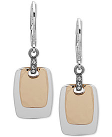 Nine West Crystal Accented Square Drop Earrings
