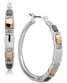 Nine West Tri-Tone Crystal Hoop Earrings