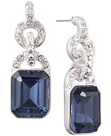 Lauren Ralph Lauren Silver-Tone Pavé Link & Stone Drop Earrings