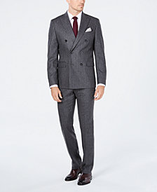 Michael Kors Men's Classic/Regular Fit Gray Stripe Double Breasted Wool Suit