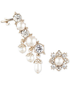 Marchesa Gold-Tone Imitation Pearl & Crystal Ear Climber and Stud Mismatch Earrings