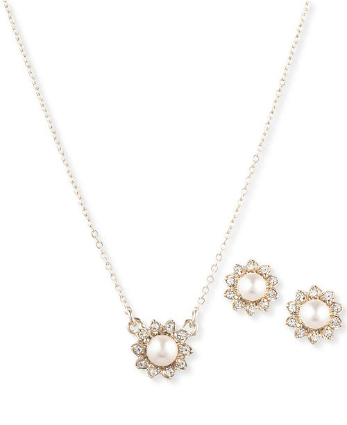 6f32d86b4ae9 Marchesa Gold-Tone 2-Pc. Set Imitation Pearl & Crystal Pendant ...