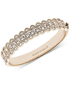 Marchesa Gold-Tone Crystal Filigree Bangle Bracelet