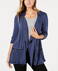 Style & Co Tiered Roll-Tab Sleeve Jacket, Created for Macy's
