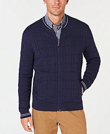 Club Room Men's Ribbed Zip-Front Pima Cardigan, Created for Macy's
