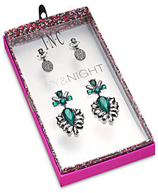 I.N.C. Day & Night Hematite-Tone 2-Pc. Set Coordinated Crystal & Stone Drop Earrings, Created for Macy's