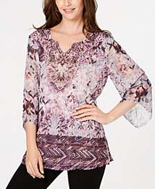 JM Collection Petite Printed Chiffon Blouse