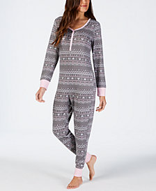 Jenni Printed Soft One-Piece Pajama, Created for Macy's