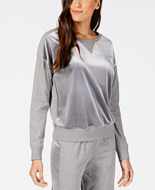 Alfani Velvet-Panel Pajama Top, Created for Macy's