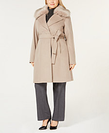 T Tahari Plus Size Faux Fur Collar Belted Wool Coat