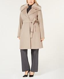 T Tahari Plus Size Faux Fur Collar Belted Wool Coat