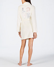 Jenni Embroidered Short Wrap Robe, Created for Macy's