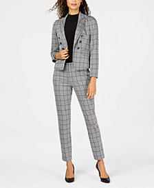 Kasper Double-Breasted Jacket, Mock-Neck Top & Plaid Pants