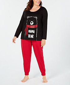 Matching Family Pajamas Plus Size Women's Mama Bear Pajama Set, Created for Macy's