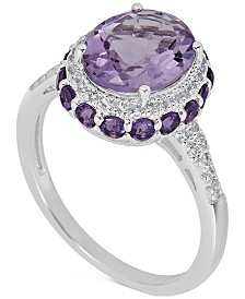 Amethyst (2-1/3 ct. t.w) and White Topaz (1/6 ct. t.w) Ring in Sterling Silver