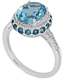 Blue Topaz (2-1/3 ct. t.w) and White Topaz (1/6 ct. t.w) Ring in Sterling Silver