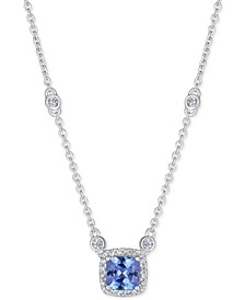 "Tanzanite (1 ct. t.w.) & White Sapphire (9/10 ct. t.w.) 18"" Pendant Necklace in Sterling Silver"