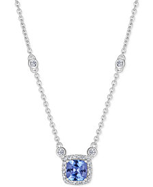 "Emerald (1 ct. t.w.) & White Sapphire (9/10 ct. t.w.) 18"" Pendant Necklace in Sterling Silver (Also Available in Tanzanite & Ruby))"