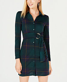Derek Heart Juniors' Belted Plaid Jersey Shirtdress