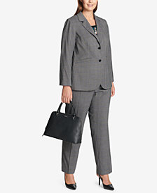 Calvin Klein Plus Size Blazer, Printed Shell & Plaid Pants