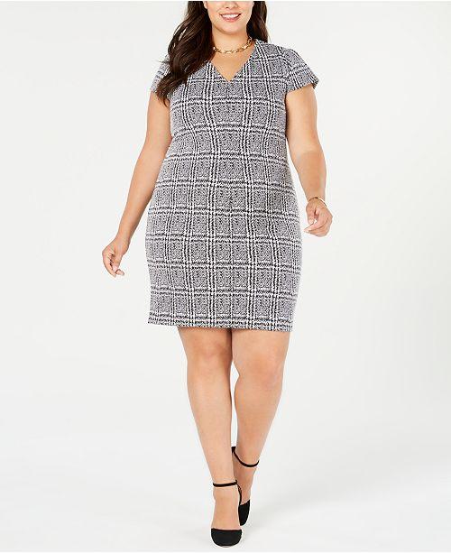 Michael Kors Plus Size Plaid Jacquard Dress & Reviews ...