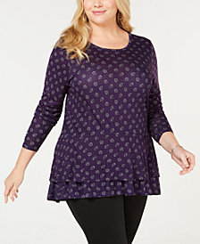 MICHAEL Michael Kors Plus Size Printed Tiered-Hem Top