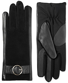 Isotoner Signature Women's SleekHeat™ Leather Touchscreen Gloves with Suede Patches