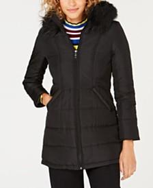 Maralyn & Me Juniors' Faux-Fur-Trim Hooded Puffer Coat