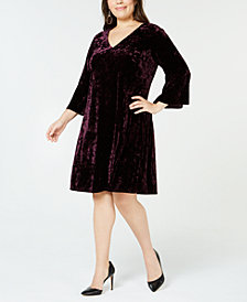 Jessica Howard Plus Size Crushed Velvet Dress