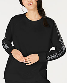 Calvin Klein Performance Logo-Sleeve Fleece Sweatshirt