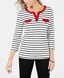 Karen Scott Cotton Contrasting Trim Striped Top, Created for Macy's