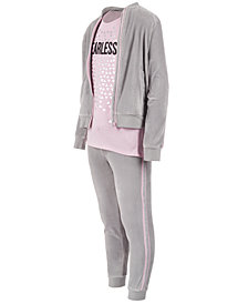 Ideology Toddler Girls Glitter-Stripe Zip-Up Sweatshirt, Graphic-Print T-Shirt & Glitter-Stripe Pants, Created for Macy's