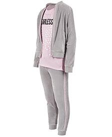 Ideology Little Girls Glitter-Stripe Zip-Up Sweatshirt, Graphic-Print T-Shirt & Glitter-Stripe Pants, Created for Macy's
