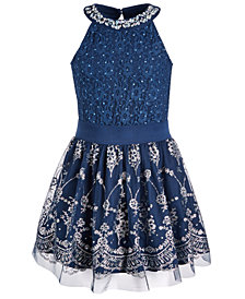 Beautees Big Girls 2-Pc. Embellished Bodysuit and Skater Skirt Set