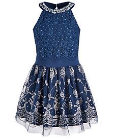 Beautees Big Girls 2-Pc. Embellished Bodysuit and Skater Skirt Set