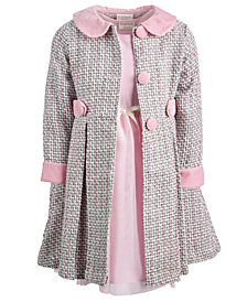 Blueberi Boulevard Toddler Girls 2-Pc. Tweed Coat & Dress Set