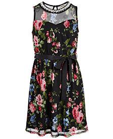 Monteau Big Girls Embellished Illusion-Neck Dress