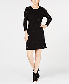 I.N.C. Pearl Embellishment Fit & Flare Dress, Created from Macy's