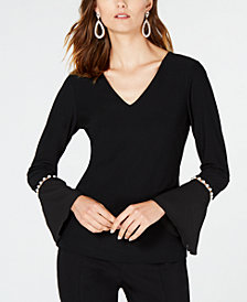 I.N.C. V-Neck Pearl-Sleeve Top, Created for Macy's