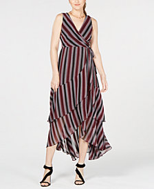I.N.C. Striped Layered Faux-Wrap Dress, Created for Macy's