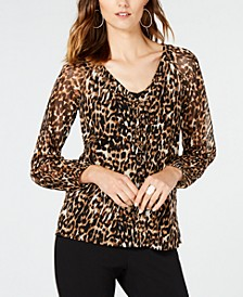 INC Animal-Print Lace-Up Top, Created for Macy's